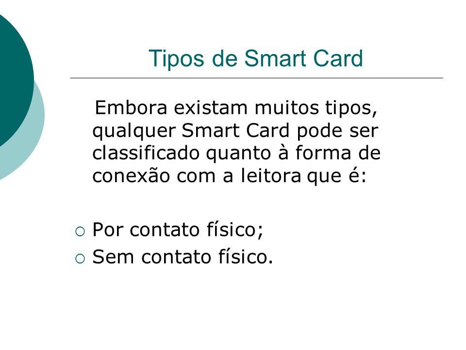 Tipos de Smart Card Embora existam muitos tipos, qualquer Smart Card pode ser classificado quanto à forma de conexão com a leitora que é: Por contato