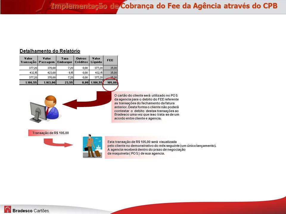 Bradesco Cartões Detalhamento do Relatório O cartão do cliente será utilizado no POS da agencia para o debito do FEE referente as transações do fechamento da fatura anterior.