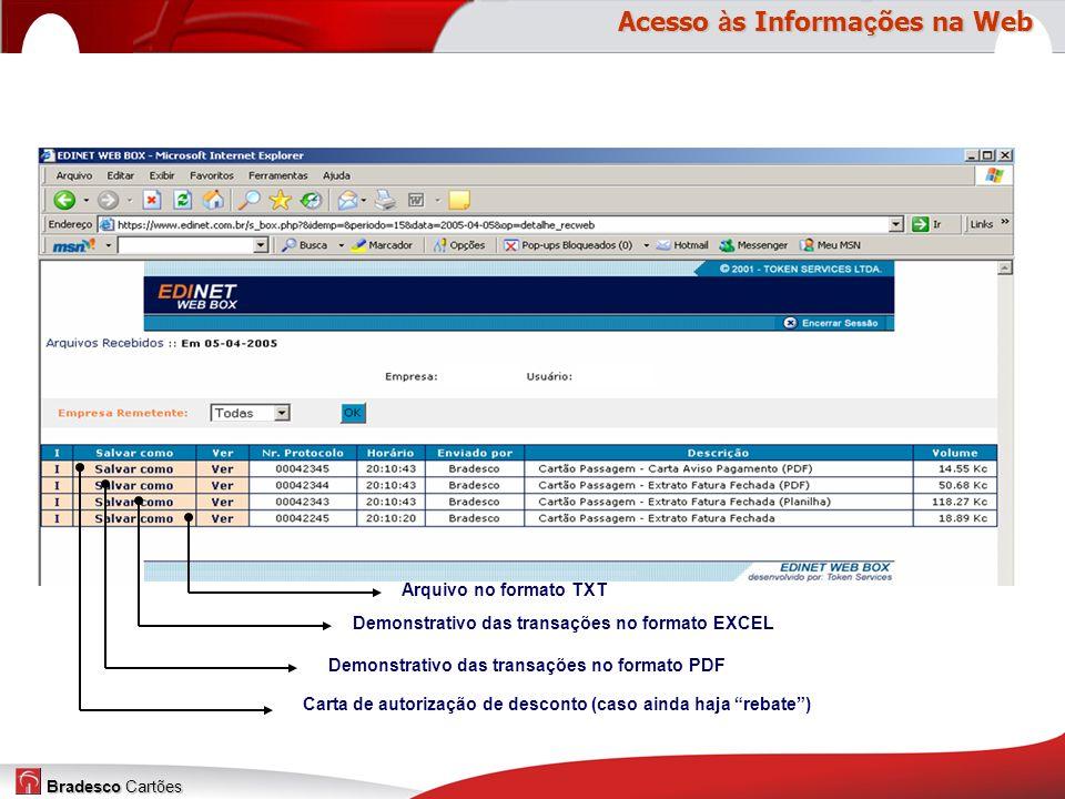 Bradesco Cartões Arquivo no formato TXT Demonstrativo das transações no formato EXCEL Demonstrativo das transações no formato PDF Carta de autorização