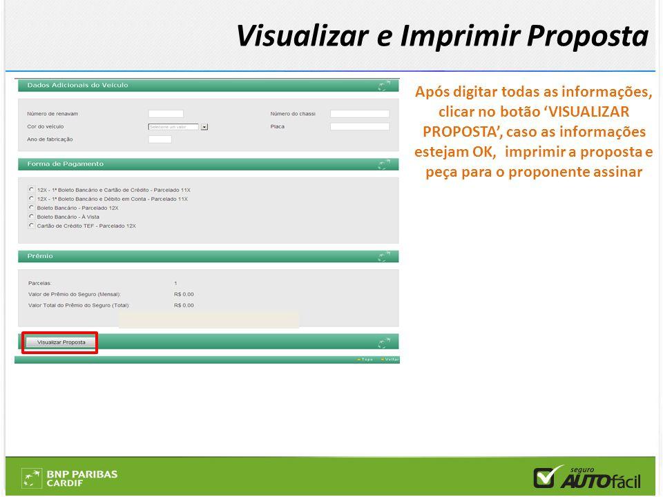 Após digitar todas as informações, clicar no botão VISUALIZAR PROPOSTA, caso as informações estejam OK, imprimir a proposta e peça para o proponente a