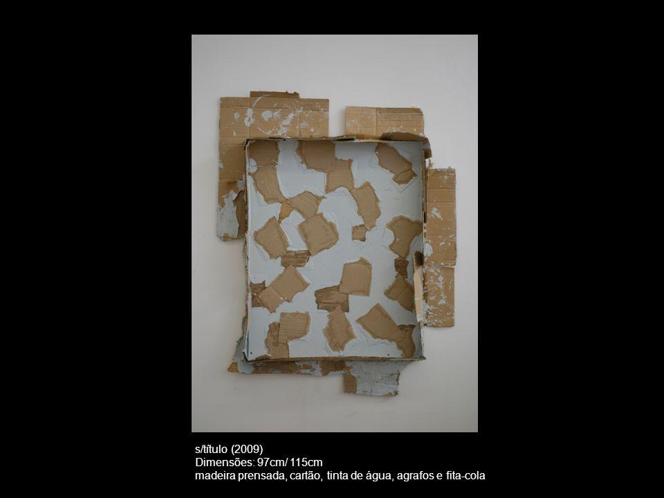 s/título (2009) Dimensões: 97cm/ 115cm madeira prensada, cartão, tinta de água, agrafos e fita-cola