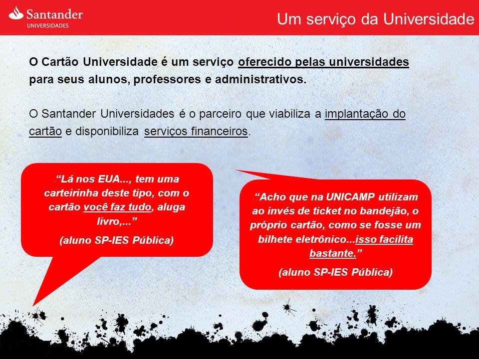 Um serviço da Universidade O Cartão Universidade é um serviço oferecido pelas universidades para seus alunos, professores e administrativos. O Santand