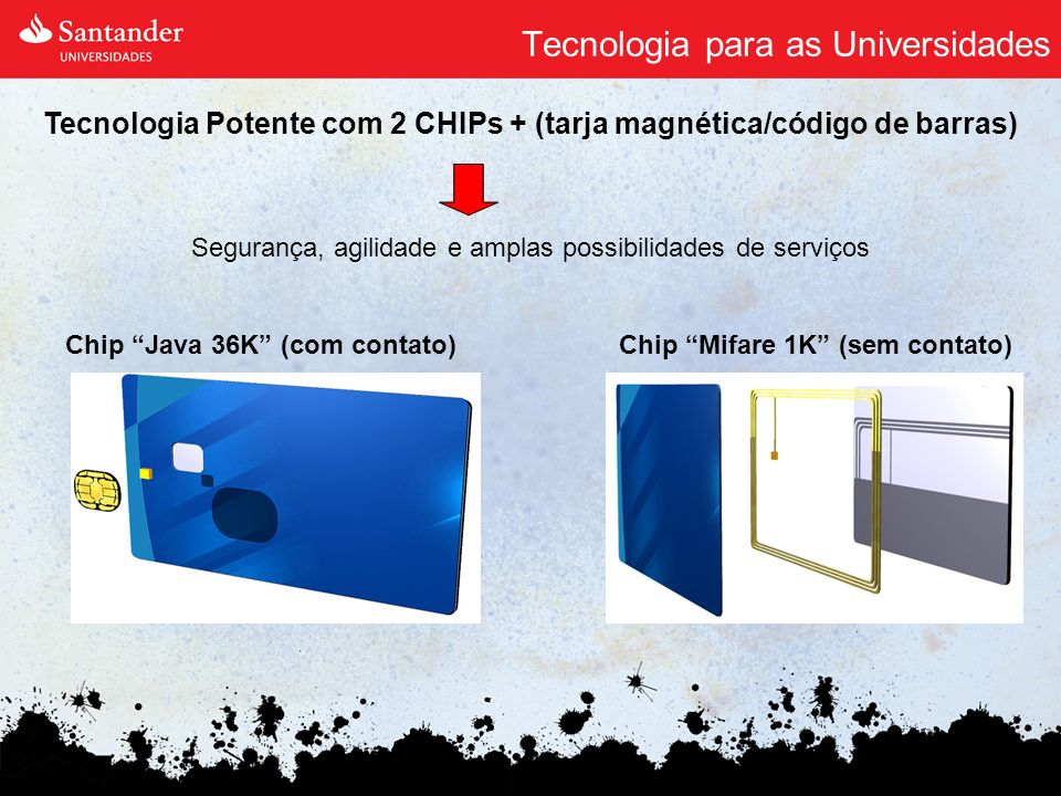 Tecnologia para as Universidades Segurança, agilidade e amplas possibilidades de serviços Tecnologia Potente com 2 CHIPs + (tarja magnética/código de