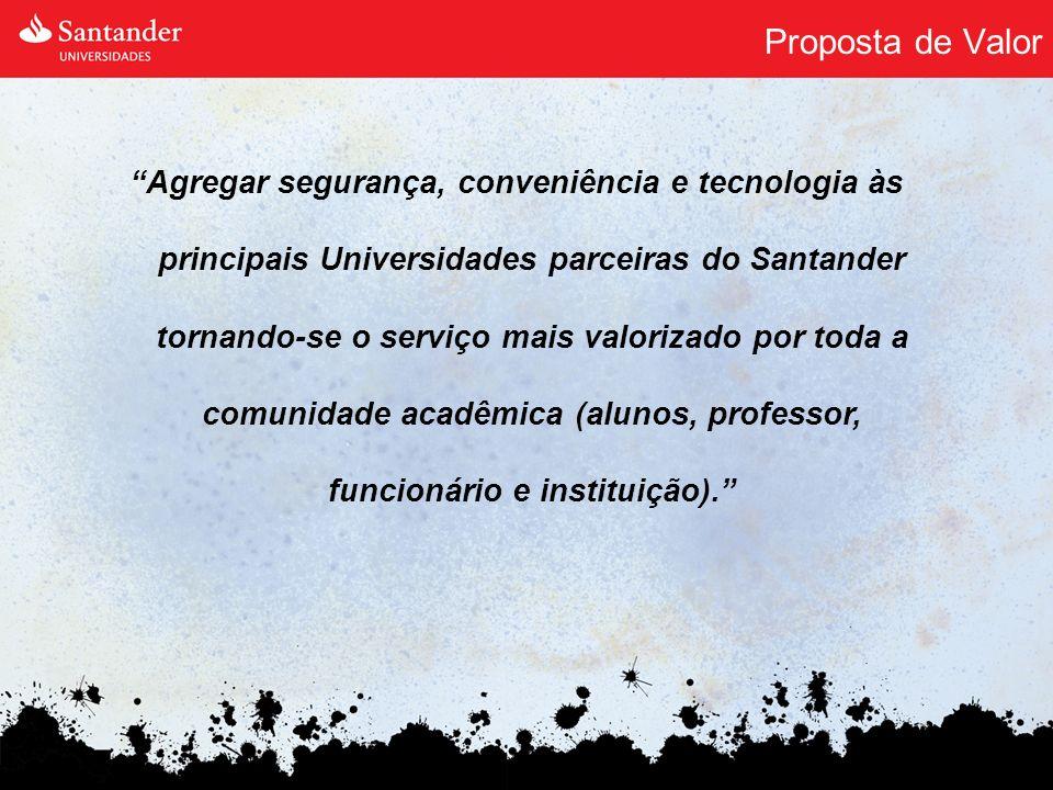Proposta de Valor Agregar segurança, conveniência e tecnologia às principais Universidades parceiras do Santander tornando-se o serviço mais valorizad