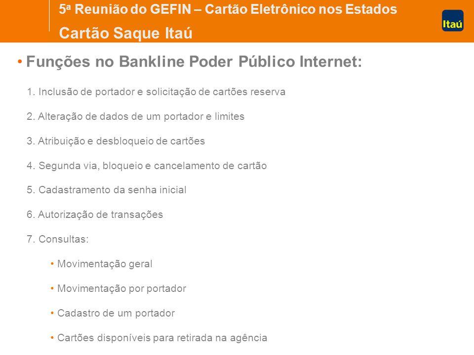 5 a Reunião do GEFIN – Cartão Eletrônico nos Estados Cartão Saque Itaú Funções no Bankline Poder Público Internet: 1.
