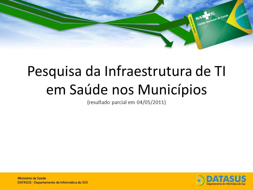 Pesquisa da Infraestrutura de TI em Saúde nos Municípios (resultado parcial em 04/05/2011)