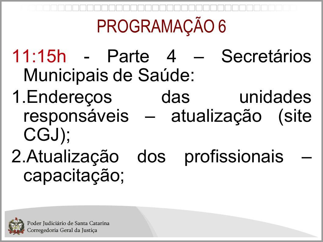 PROGRAMAÇÃO 6 11:15h - Parte 4 – Secretários Municipais de Saúde: 1.Endereços das unidades responsáveis – atualização (site CGJ); 2.Atualização dos pr