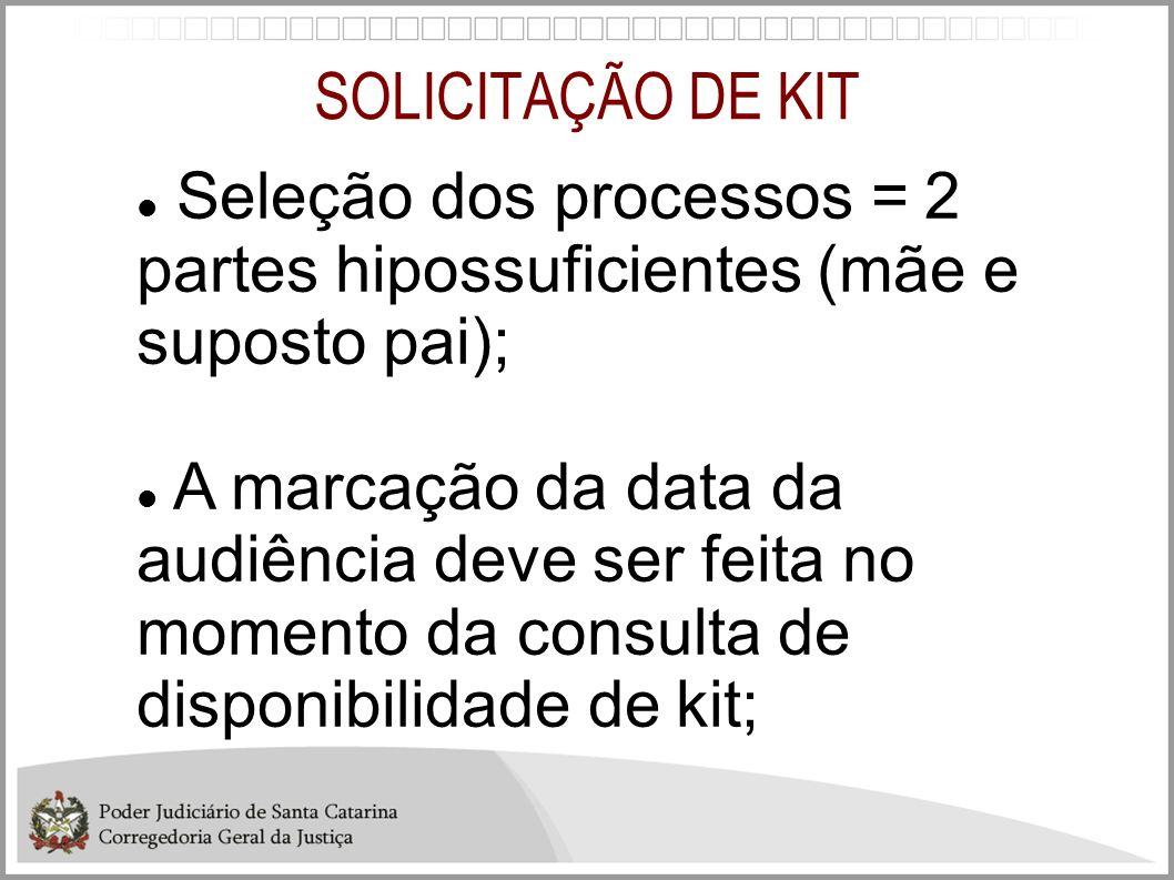 SOLICITAÇÃO DE KIT Seleção dos processos = 2 partes hipossuficientes (mãe e suposto pai); A marcação da data da audiência deve ser feita no momento da