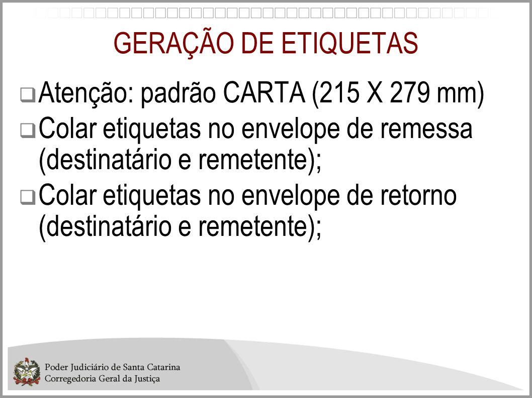 GERAÇÃO DE ETIQUETAS Atenção: padrão CARTA (215 X 279 mm) Colar etiquetas no envelope de remessa (destinatário e remetente); Colar etiquetas no envelo