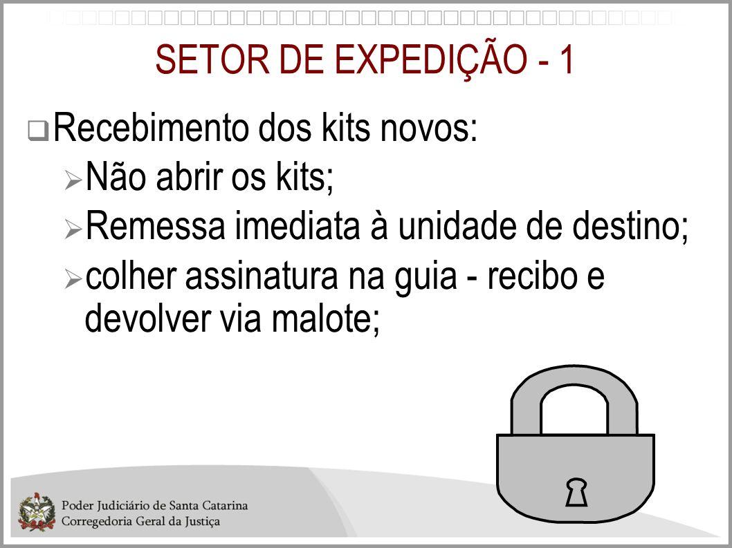 SETOR DE EXPEDIÇÃO - 1 Recebimento dos kits novos: Não abrir os kits; Remessa imediata à unidade de destino; colher assinatura na guia - recibo e devo