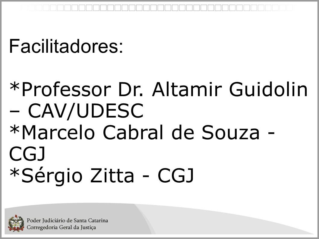 Facilitadores: *Professor Dr. Altamir Guidolin – CAV/UDESC *Marcelo Cabral de Souza - CGJ *Sérgio Zitta - CGJ