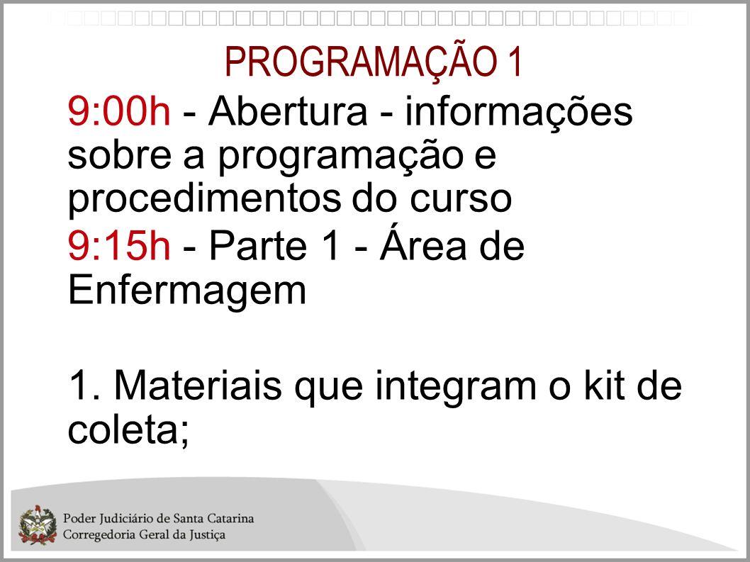 PROGRAMAÇÃO 1 9:00h - Abertura - informações sobre a programação e procedimentos do curso 9:15h - Parte 1 - Área de Enfermagem 1. Materiais que integr