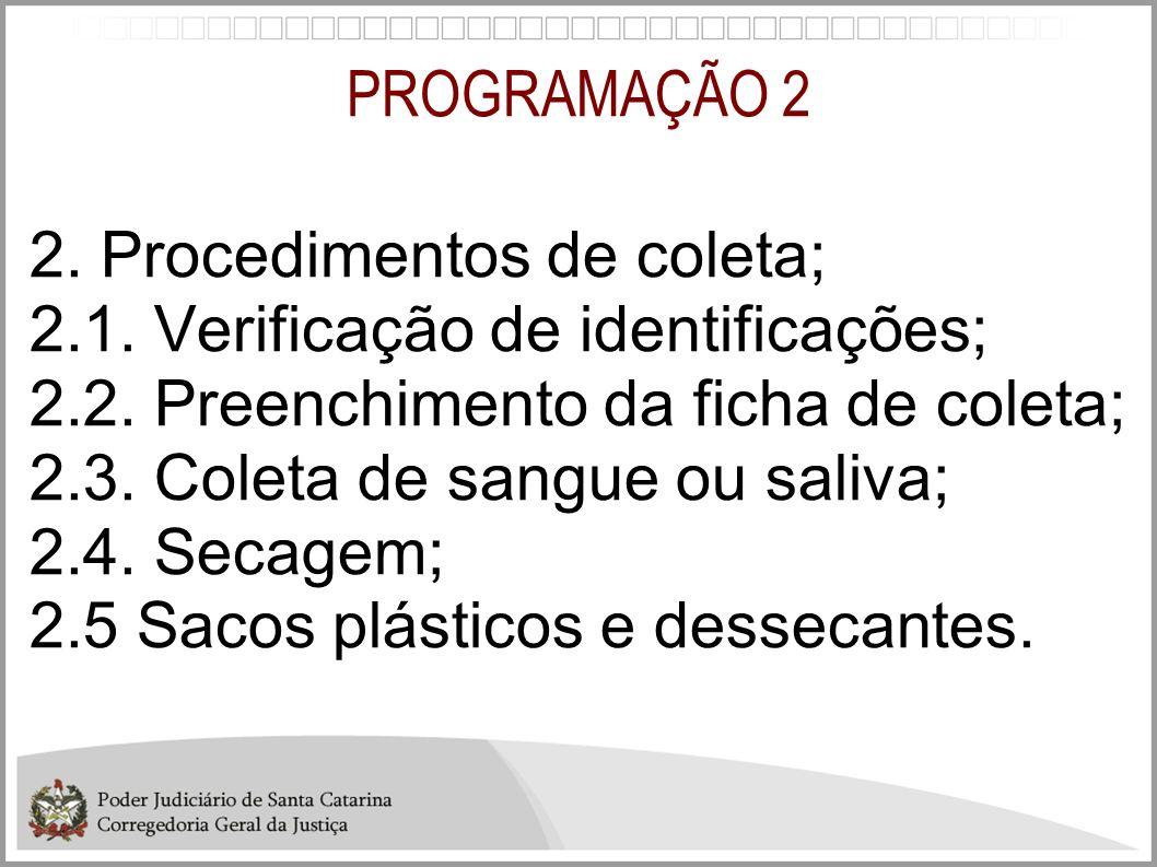PROGRAMAÇÃO 2 2. Procedimentos de coleta; 2.1. Verificação de identificações; 2.2. Preenchimento da ficha de coleta; 2.3. Coleta de sangue ou saliva;