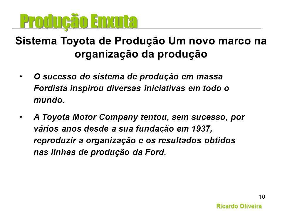 Ricardo Oliveira 10 O sucesso do sistema de produção em massa Fordista inspirou diversas iniciativas em todo o mundo. A Toyota Motor Company tentou, s