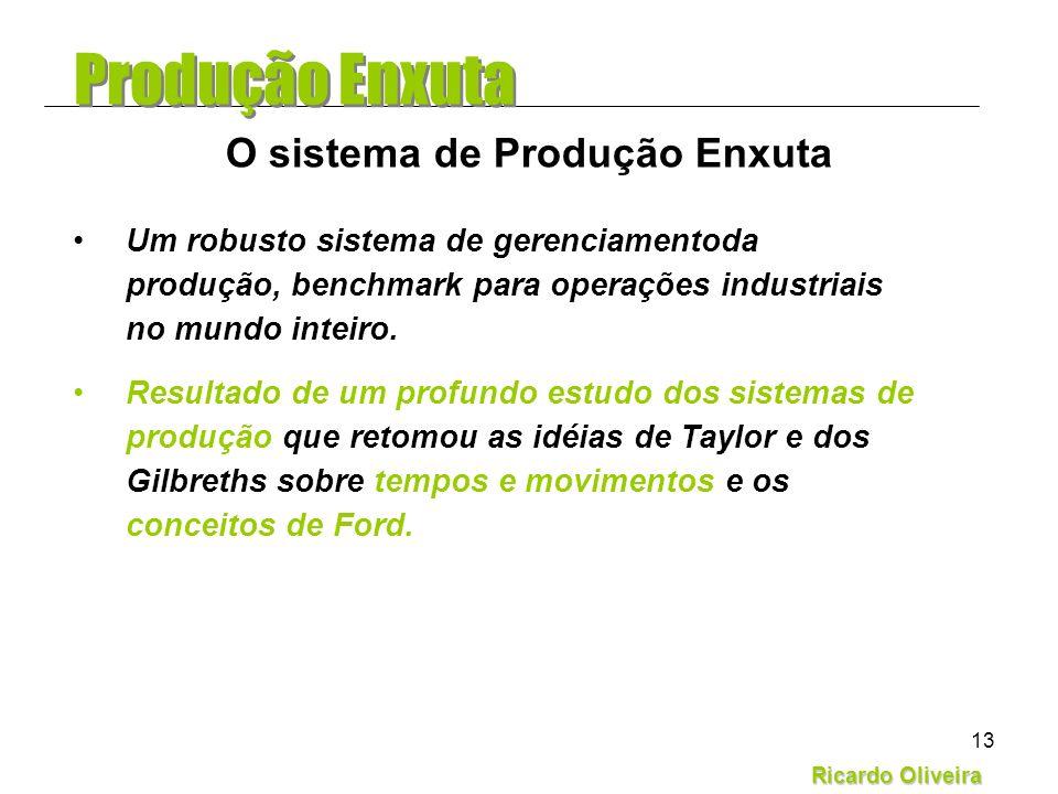 Ricardo Oliveira 13 Um robusto sistema de gerenciamentoda produção, benchmark para operações industriais no mundo inteiro. Resultado de um profundo es
