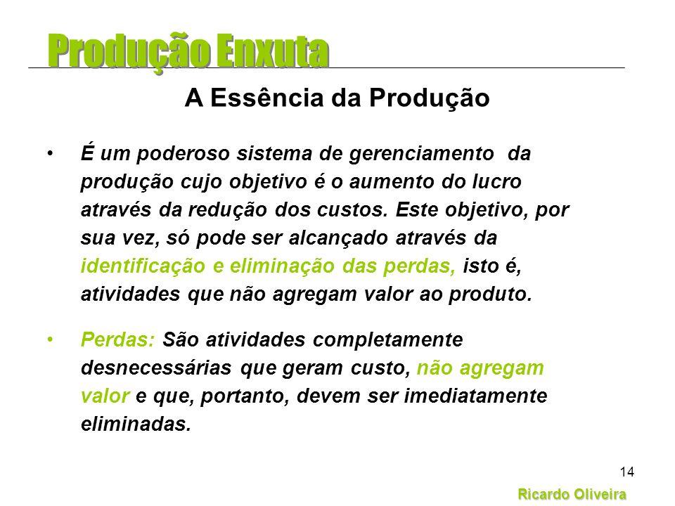 Ricardo Oliveira 14 É um poderoso sistema de gerenciamento da produção cujo objetivo é o aumento do lucro através da redução dos custos. Este objetivo