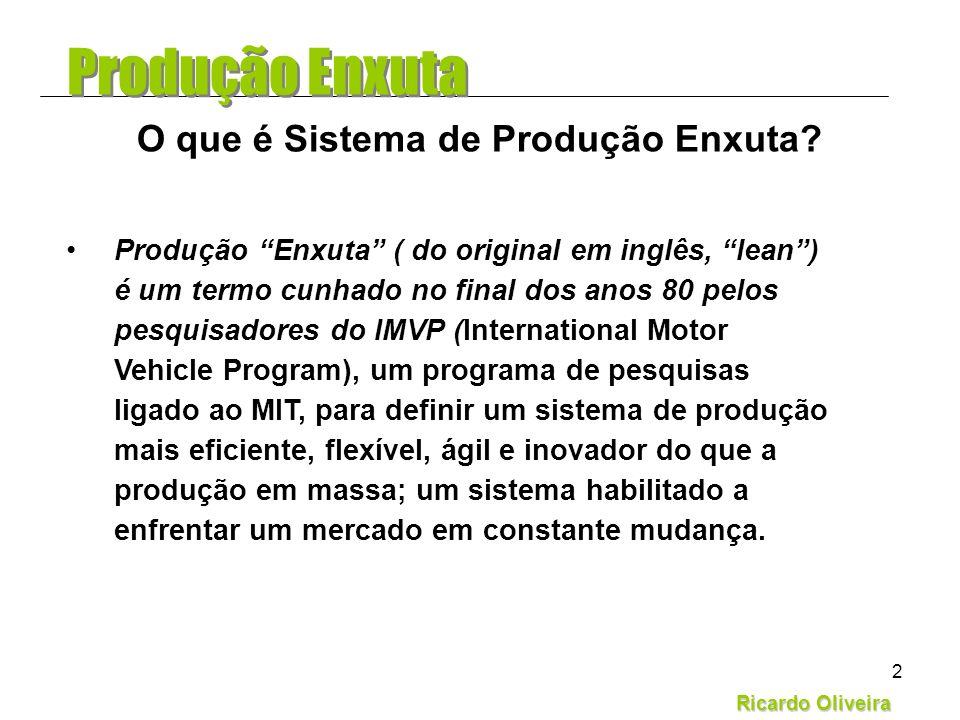 Ricardo Oliveira 2 Produção Enxuta ( do original em inglês, lean) é um termo cunhado no final dos anos 80 pelos pesquisadores do IMVP (International M