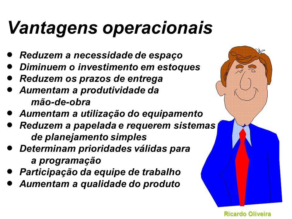 Ricardo Oliveira Vantagens operacionais Reduzem a necessidade de espaço Diminuem o investimento em estoques Reduzem os prazos de entrega Aumentam a pr