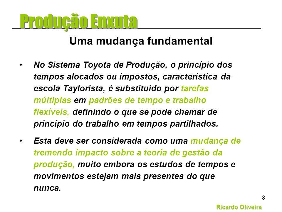 Ricardo Oliveira 8 No Sistema Toyota de Produção, o princípio dos tempos alocados ou impostos, característica da escola Taylorista, é substituído por