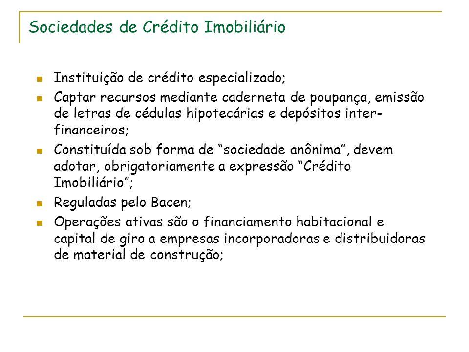 Sociedades de Crédito Imobiliário Instituição de crédito especializado; Captar recursos mediante caderneta de poupança, emissão de letras de cédulas h