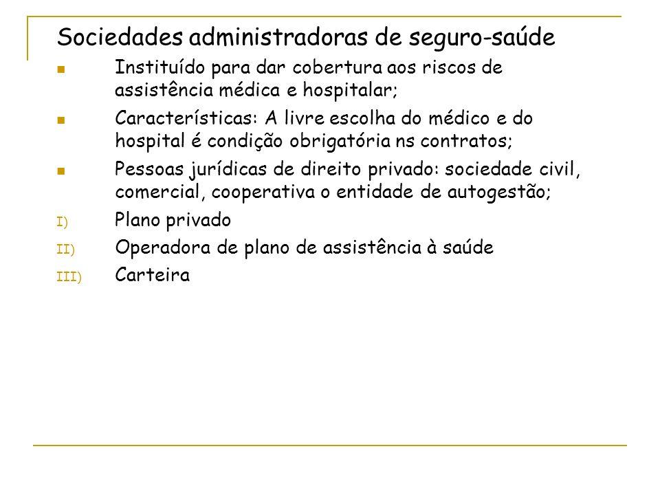 Sociedades administradoras de seguro-saúde Instituído para dar cobertura aos riscos de assistência médica e hospitalar; Características: A livre escol