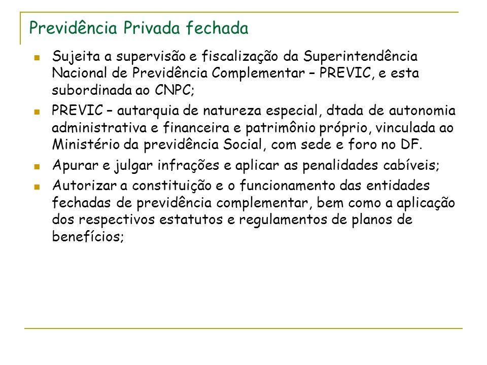 Previdência Privada fechada Sujeita a supervisão e fiscalização da Superintendência Nacional de Previdência Complementar – PREVIC, e esta subordinada