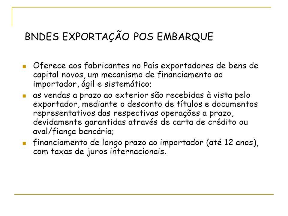 BNDES EXPORTAÇÃO POS EMBARQUE Oferece aos fabricantes no País exportadores de bens de capital novos, um mecanismo de financiamento ao importador, ágil