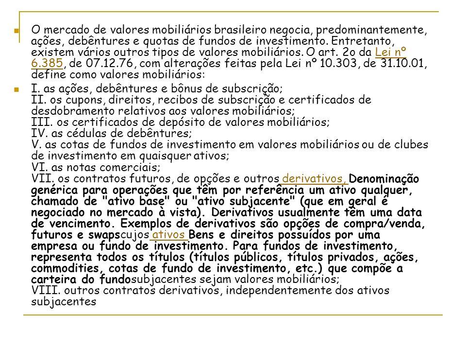 O mercado de valores mobiliários brasileiro negocia, predominantemente, ações, debêntures e quotas de fundos de investimento.