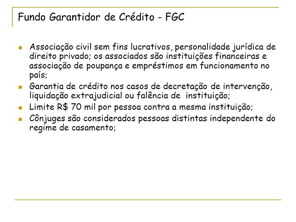 Fundo Garantidor de Crédito - FGC Associação civil sem fins lucrativos, personalidade jurídica de direito privado; os associados são instituições fina