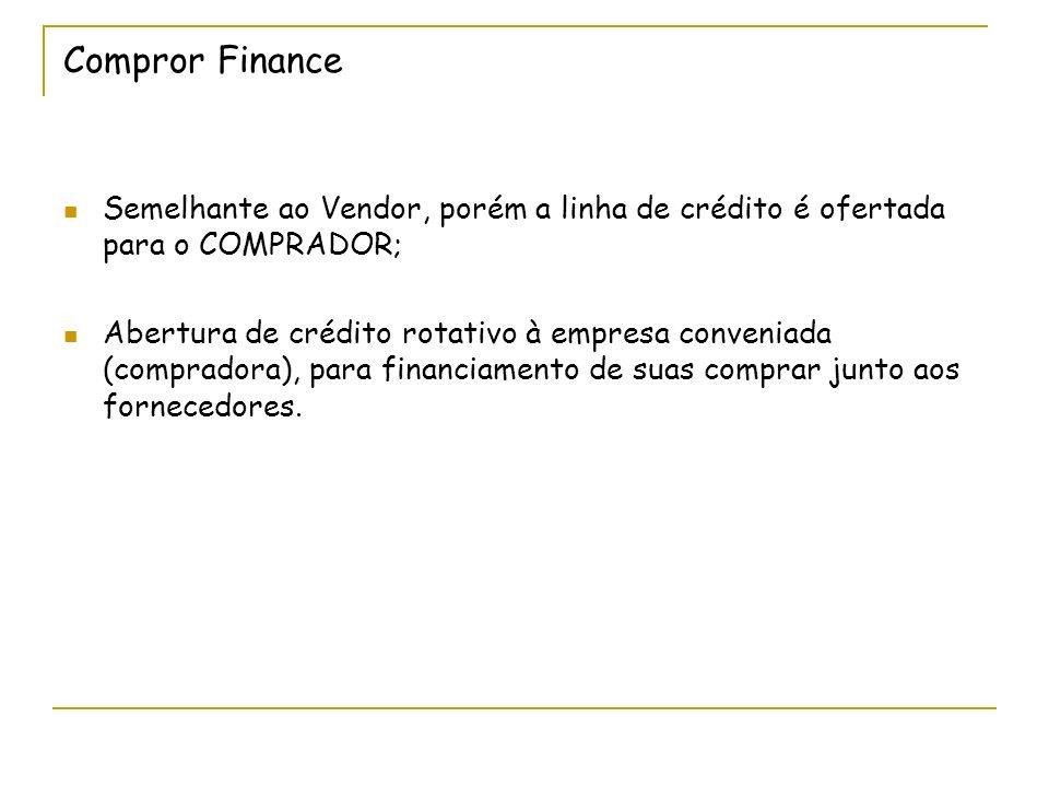 Compror Finance Semelhante ao Vendor, porém a linha de crédito é ofertada para o COMPRADOR; Abertura de crédito rotativo à empresa conveniada (compradora), para financiamento de suas comprar junto aos fornecedores.