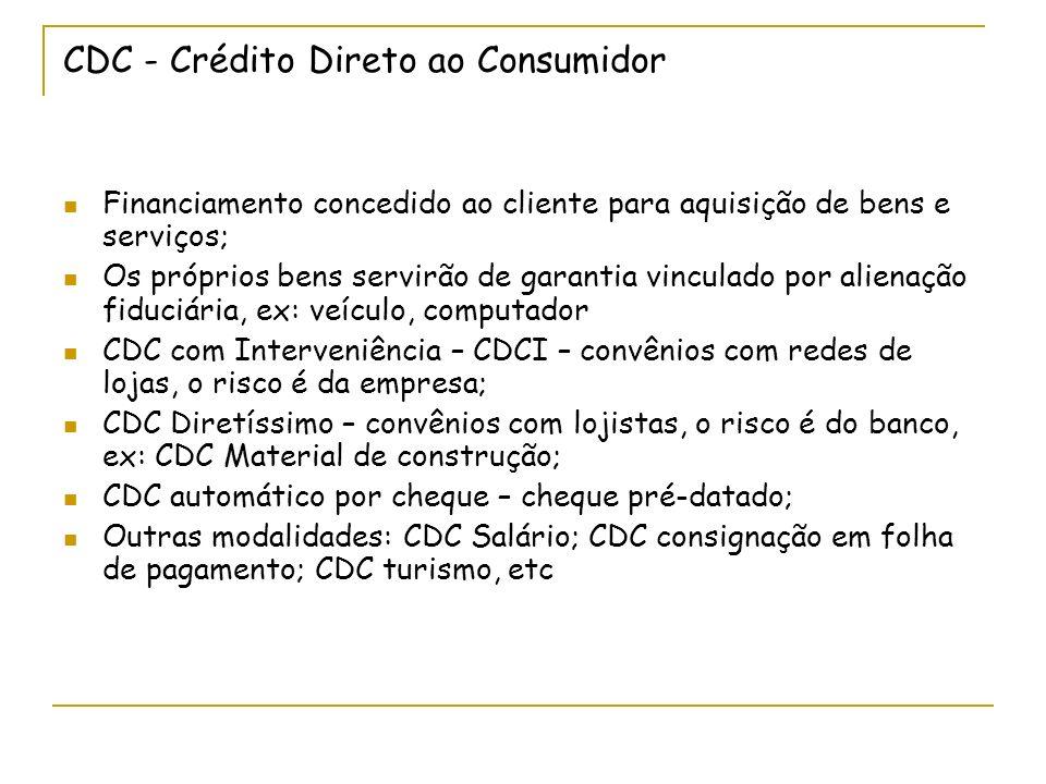 CDC - Crédito Direto ao Consumidor Financiamento concedido ao cliente para aquisição de bens e serviços; Os próprios bens servirão de garantia vinculado por alienação fiduciária, ex: veículo, computador CDC com Interveniência – CDCI – convênios com redes de lojas, o risco é da empresa; CDC Diretíssimo – convênios com lojistas, o risco é do banco, ex: CDC Material de construção; CDC automático por cheque – cheque pré-datado; Outras modalidades: CDC Salário; CDC consignação em folha de pagamento; CDC turismo, etc