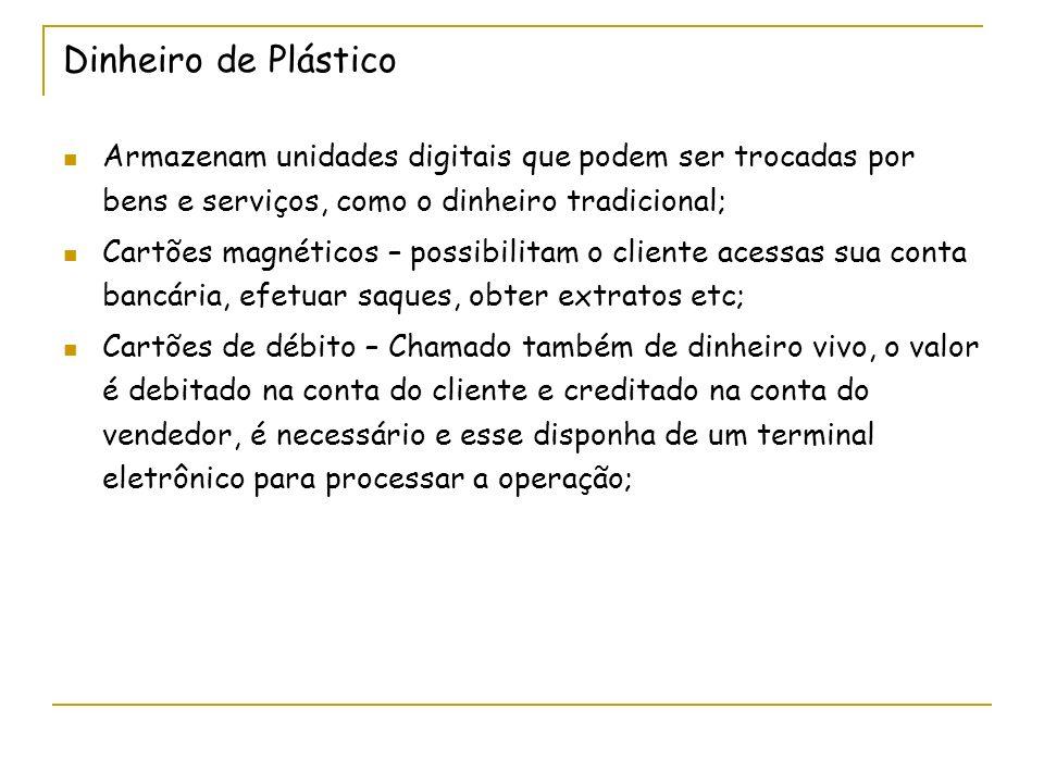 Dinheiro de Plástico Armazenam unidades digitais que podem ser trocadas por bens e serviços, como o dinheiro tradicional; Cartões magnéticos – possibi