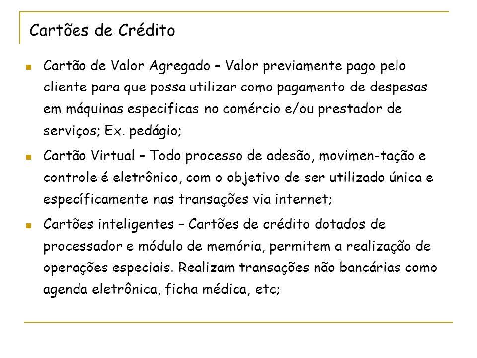 Cartões de Crédito Cartão de Valor Agregado – Valor previamente pago pelo cliente para que possa utilizar como pagamento de despesas em máquinas espec