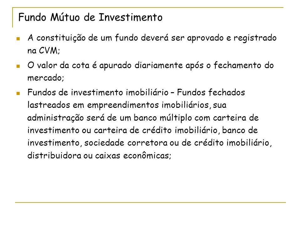 Fundo Mútuo de Investimento A constituição de um fundo deverá ser aprovado e registrado na CVM; O valor da cota é apurado diariamente após o fechament
