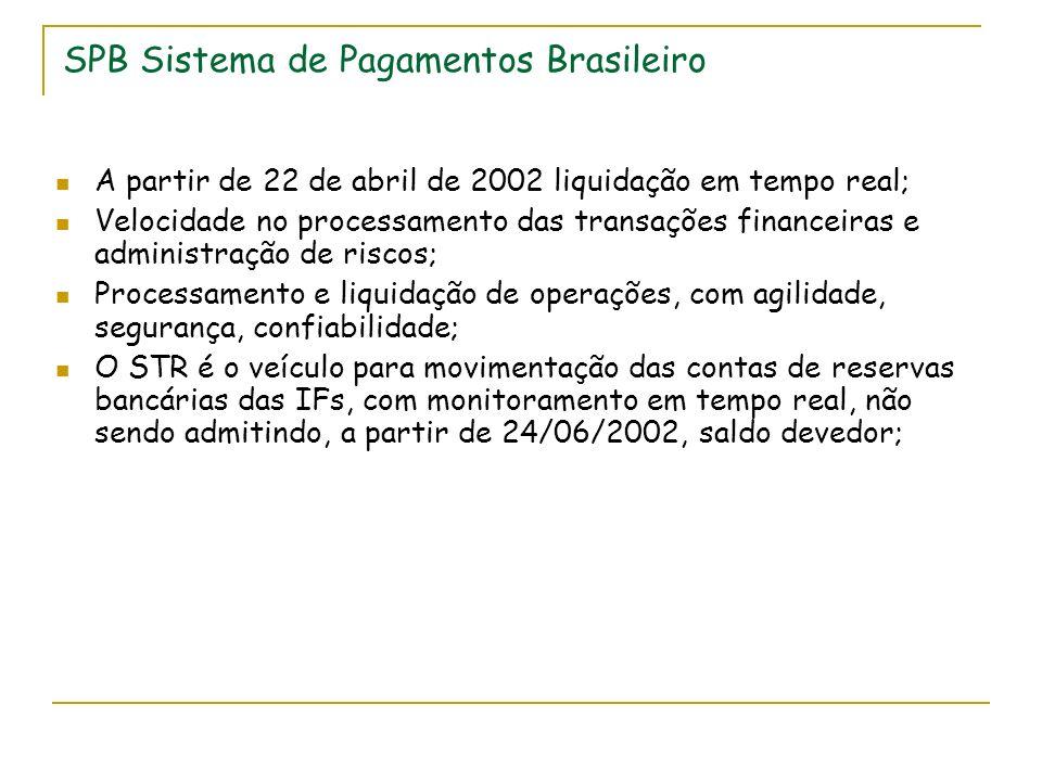 SPB Sistema de Pagamentos Brasileiro A partir de 22 de abril de 2002 liquidação em tempo real; Velocidade no processamento das transações financeiras