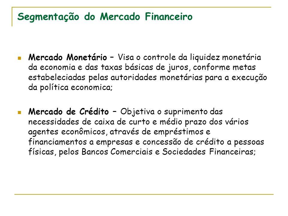 Segmentação do Mercado Financeiro Mercado Monetário – Visa o controle da liquidez monetária da economia e das taxas básicas de juros, conforme metas e
