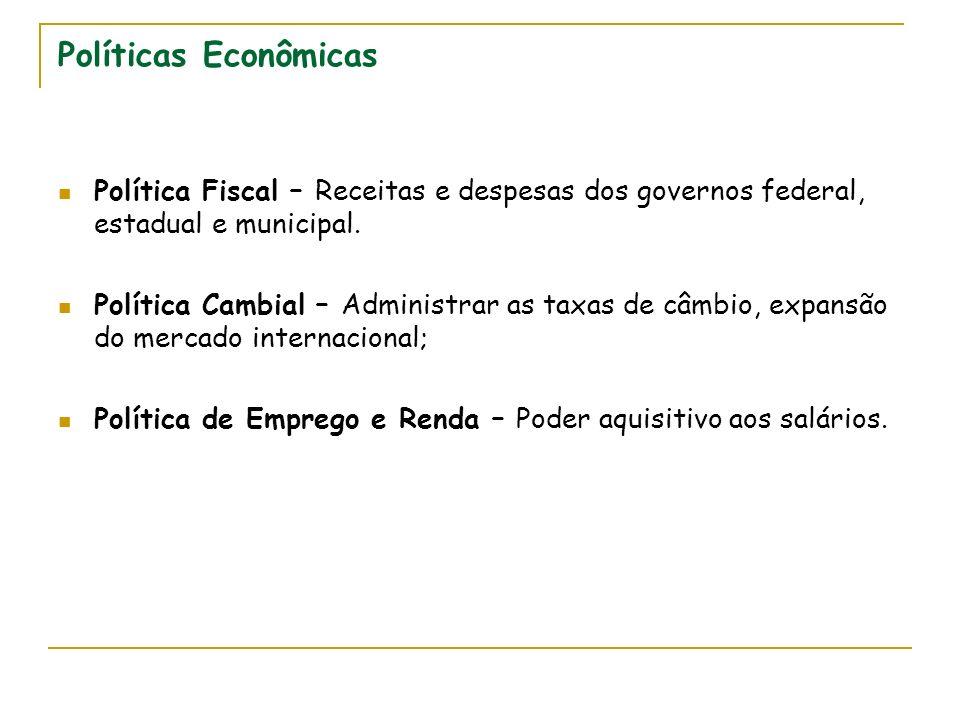 Políticas Econômicas Política Fiscal – Receitas e despesas dos governos federal, estadual e municipal. Política Cambial – Administrar as taxas de câmb