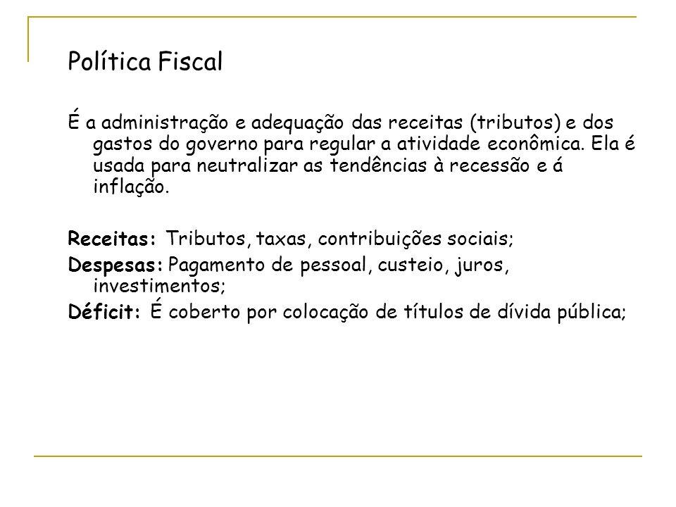 Política Fiscal É a administração e adequação das receitas (tributos) e dos gastos do governo para regular a atividade econômica.