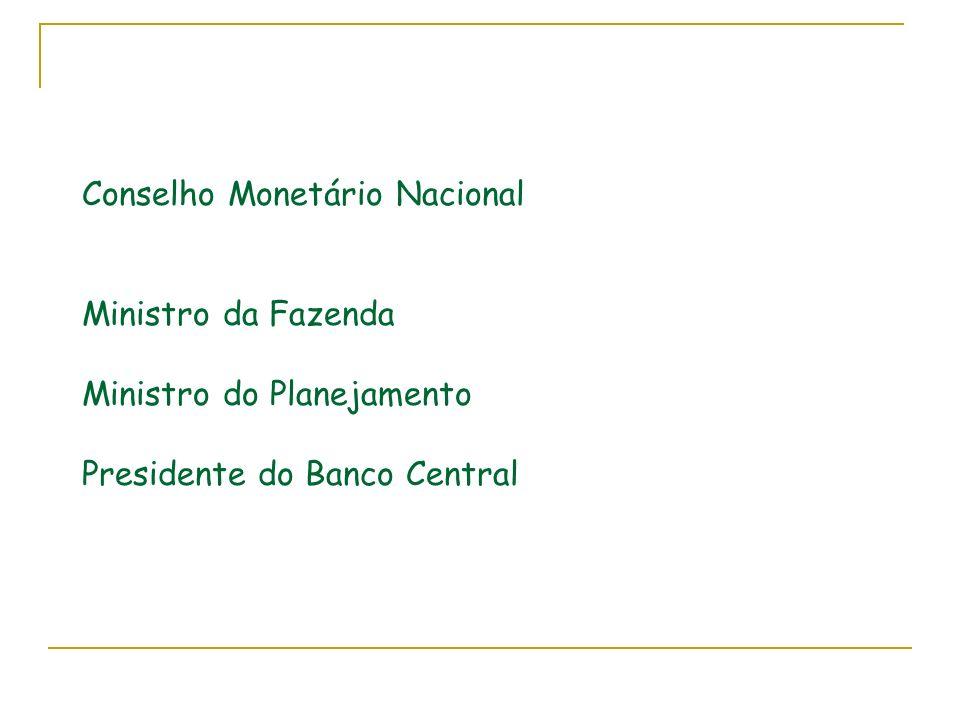 Conselho Monetário Nacional Ministro da Fazenda Ministro do Planejamento Presidente do Banco Central