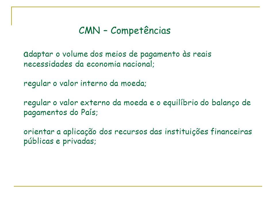 CMN – Competências a daptar o volume dos meios de pagamento às reais necessidades da economia nacional; regular o valor interno da moeda; regular o valor externo da moeda e o equilíbrio do balanço de pagamentos do País; orientar a aplicação dos recursos das instituições financeiras públicas e privadas;