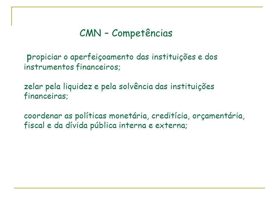 CMN – Competências p ropiciar o aperfeiçoamento das instituições e dos instrumentos financeiros; zelar pela liquidez e pela solvência das instituições financeiras; coordenar as políticas monetária, creditícia, orçamentária, fiscal e da dívida pública interna e externa;