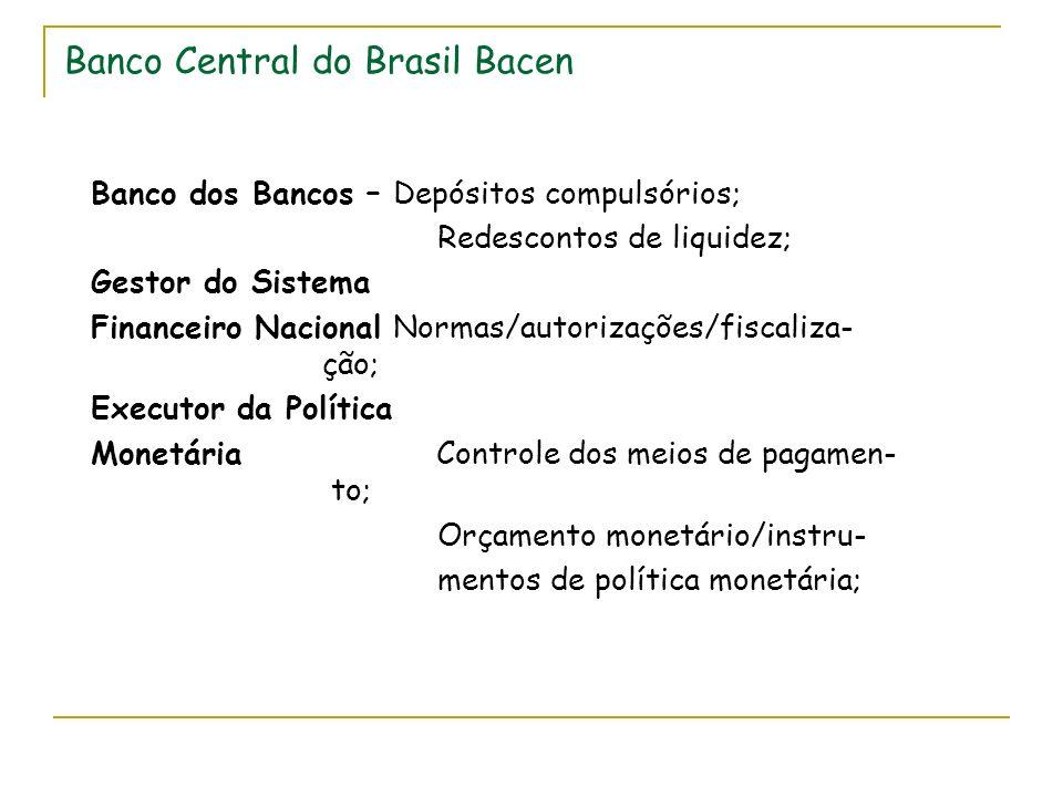 Banco Central do Brasil Bacen Banco dos Bancos – Depósitos compulsórios; Redescontos de liquidez; Gestor do Sistema Financeiro Nacional Normas/autorizações/fiscaliza- ção; Executor da Política Monetária Controle dos meios de pagamen- to; Orçamento monetário/instru- mentos de política monetária;
