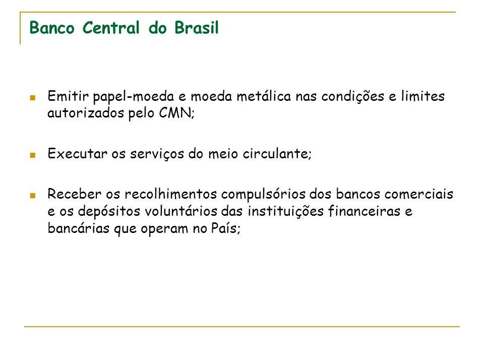 Banco Central do Brasil Emitir papel-moeda e moeda metálica nas condições e limites autorizados pelo CMN; Executar os serviços do meio circulante; Rec