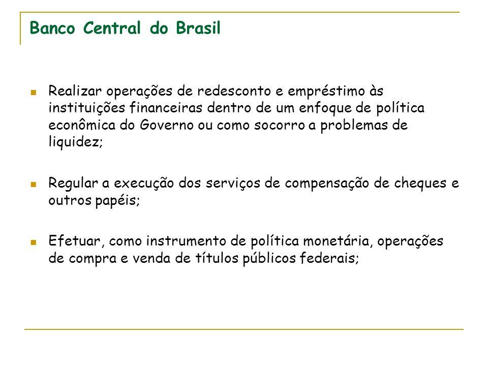 Banco Central do Brasil Realizar operações de redesconto e empréstimo às instituições financeiras dentro de um enfoque de política econômica do Govern