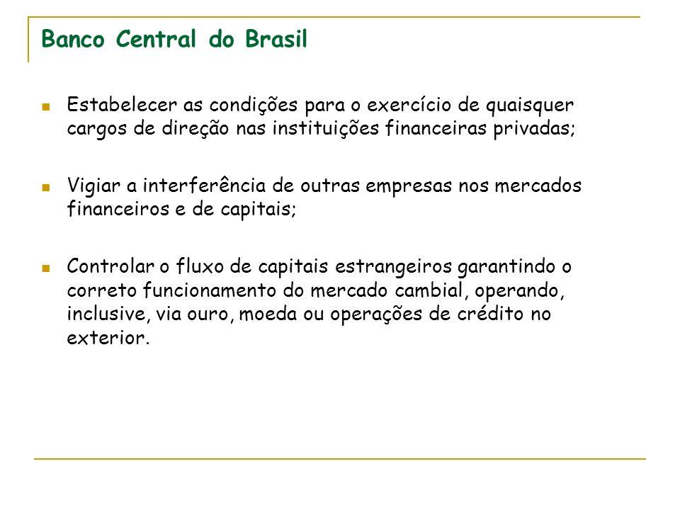 Banco Central do Brasil Estabelecer as condições para o exercício de quaisquer cargos de direção nas instituições financeiras privadas; Vigiar a inter