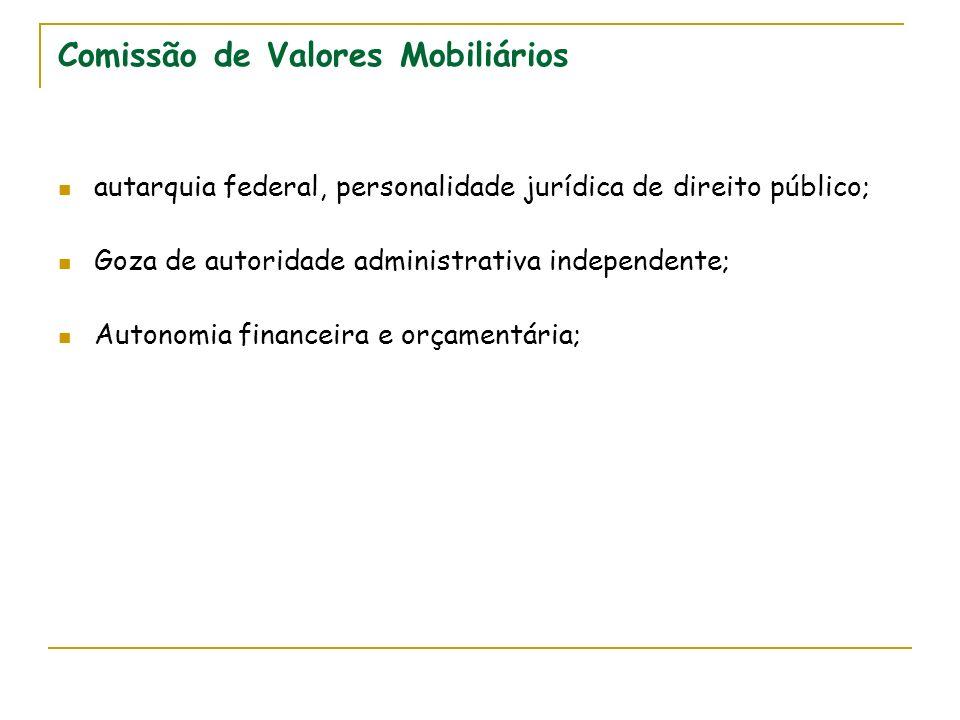 Comissão de Valores Mobiliários autarquia federal, personalidade jurídica de direito público; Goza de autoridade administrativa independente; Autonomia financeira e orçamentária;