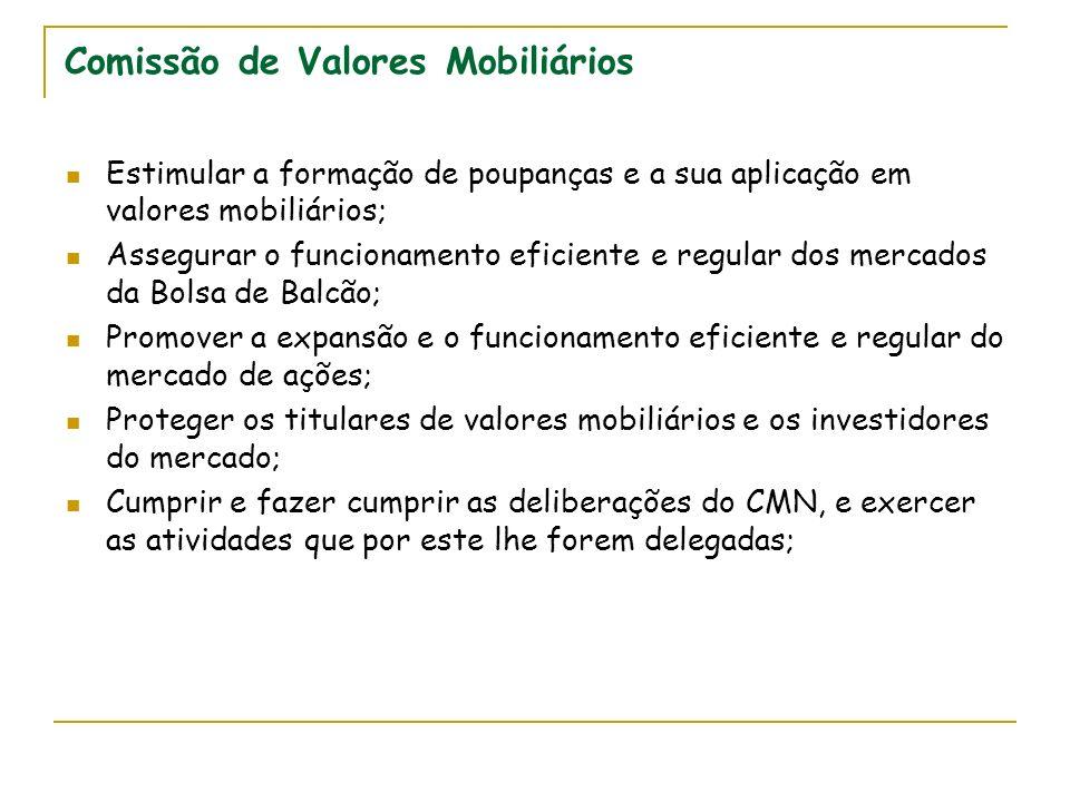Comissão de Valores Mobiliários Estimular a formação de poupanças e a sua aplicação em valores mobiliários; Assegurar o funcionamento eficiente e regu