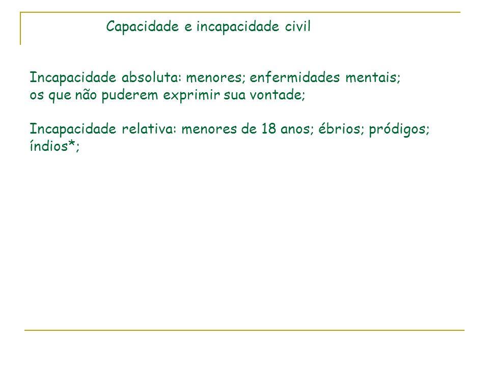 Capacidade e incapacidade civil Incapacidade absoluta: menores; enfermidades mentais; os que não puderem exprimir sua vontade; Incapacidade relativa: