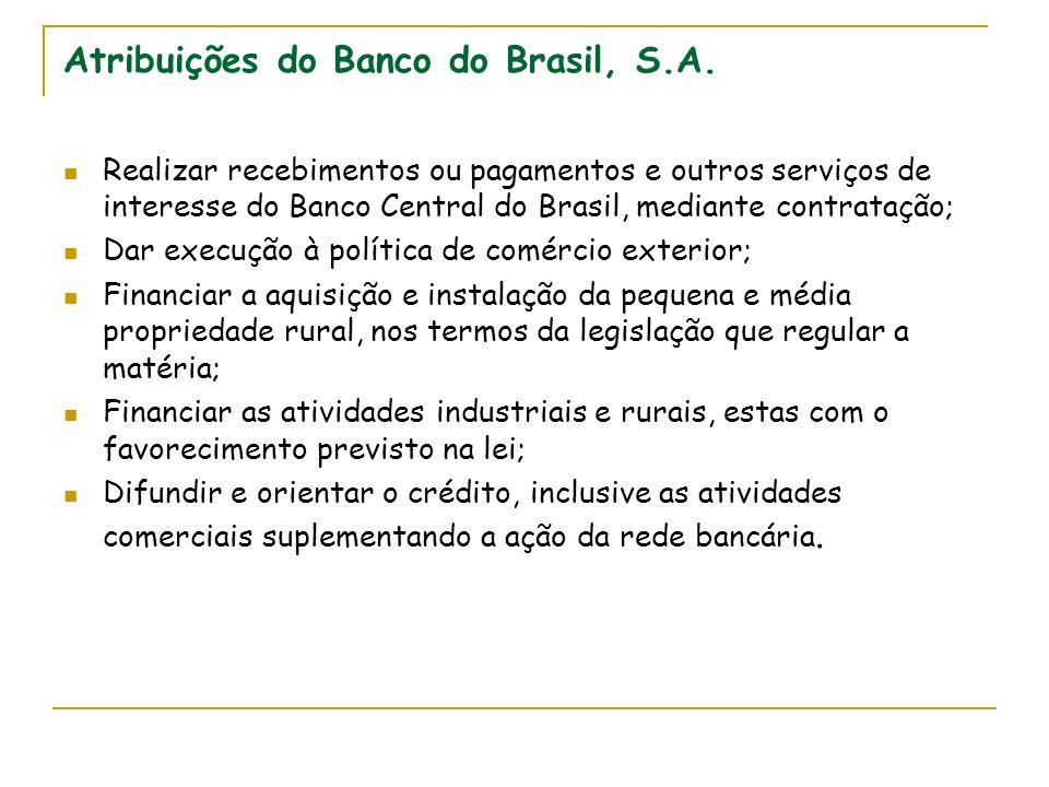 Atribuições do Banco do Brasil, S.A. Realizar recebimentos ou pagamentos e outros serviços de interesse do Banco Central do Brasil, mediante contrataç