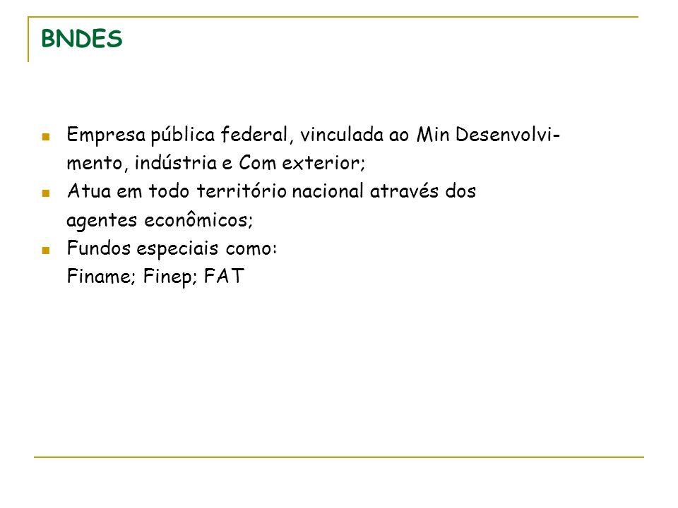 BNDES Empresa pública federal, vinculada ao Min Desenvolvi- mento, indústria e Com exterior; Atua em todo território nacional através dos agentes econômicos; Fundos especiais como: Finame; Finep; FAT